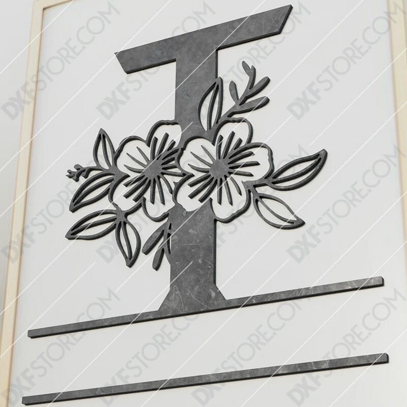 Split Monogram Elegant Floral Split Alphabet Letter T Cut-Ready Plasma Cut DXF File Download for CNC Plasma and Laser Cut
