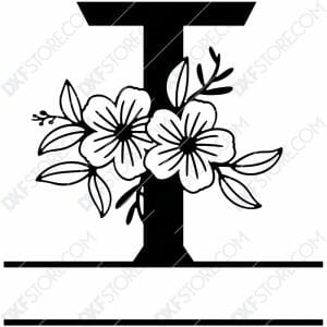 Split Monogram Elegant Floral Split Alphabet Letter T DXF File Download Plasma Art for CNC Plasma Cut Cut-Ready DXF File for CNC