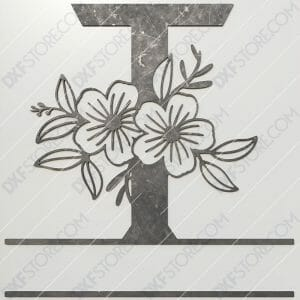 Split Monogram Elegant Floral Split Alphabet Letter T DXF File Plasma and Laser Cut for CNC Laser and Plasma Cut