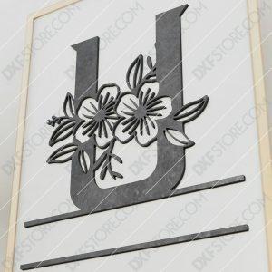 Split Monogram Elegant Floral Split Alphabet Letter U Cut-Ready Plasma Cut DXF File Download for CNC Plasma and Laser Cut