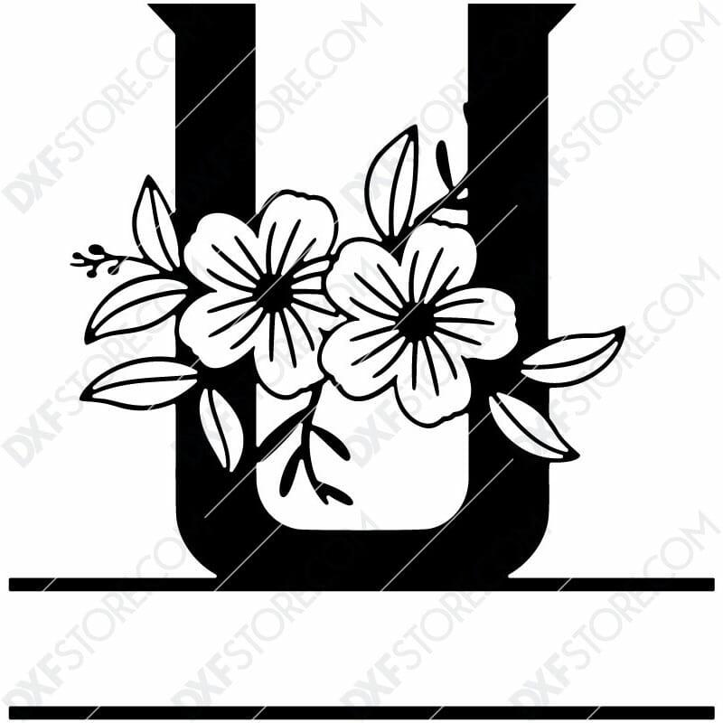 Split Monogram Elegant Floral Split Alphabet Letter U DXF File Download Plasma Art for CNC Plasma Cut Cut-Ready DXF File for CNC