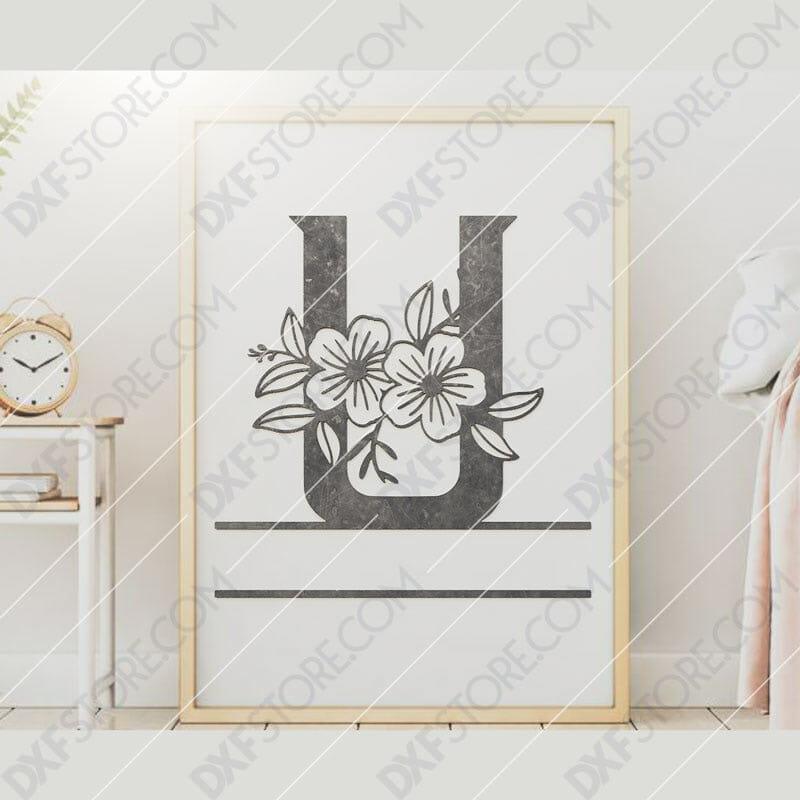 Split Monogram Elegant Floral Split Alphabet Letter U DXF File Downloadable DXF for CNC Plasma DXF Files Download