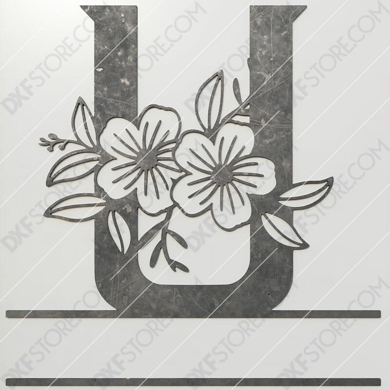 Split Monogram Elegant Floral Split Alphabet Letter U DXF File Plasma and Laser Cut for CNC Laser and Plasma Cut