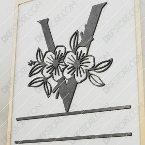 Split Monogram Elegant Floral Split Alphabet Letter V Cut-Ready Plasma Cut DXF File Download for CNC Plasma and Laser Cut