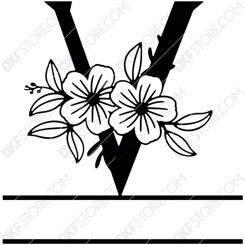 Split Monogram Elegant Floral Split Alphabet Letter V DXF File Download Plasma Art for CNC Plasma Cut Cut-Ready DXF File for CNC