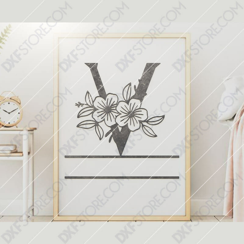 Split Monogram Elegant Floral Split Alphabet Letter V DXF File Downloadable DXF for CNC Plasma DXF Files Download