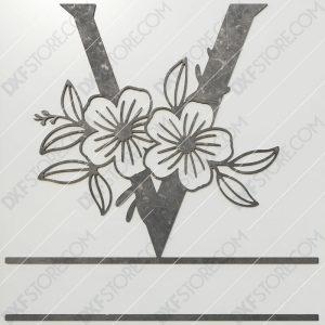 Split Monogram Elegant Floral Split Alphabet Letter V DXF File Plasma and Laser Cut for CNC Laser and Plasma Cut