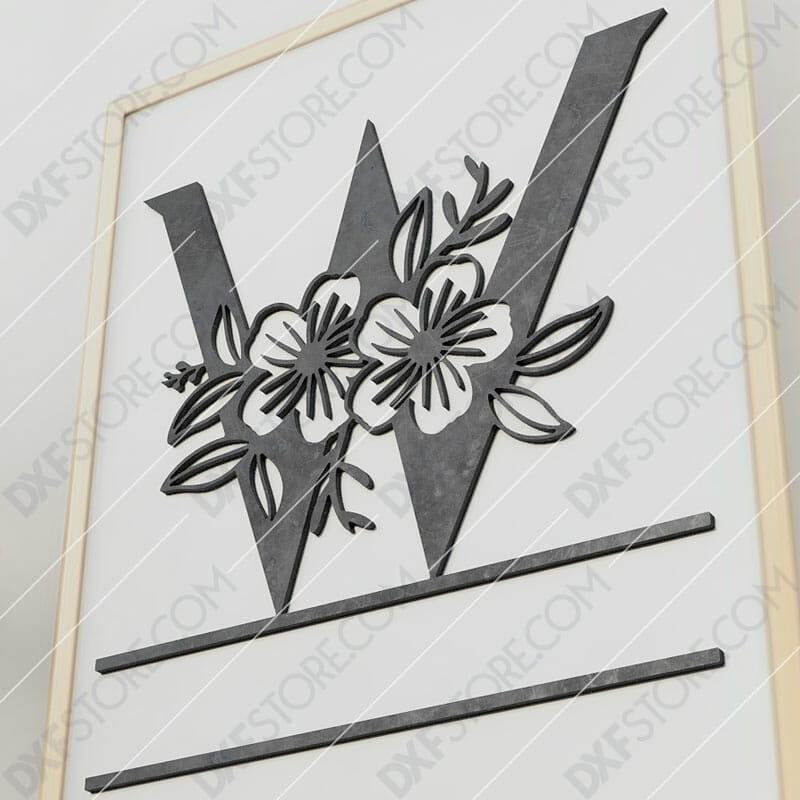 Split Monogram Elegant Floral Split Alphabet Letter W Cut-Ready Plasma Cut DXF File Download for CNC Plasma and Laser Cut