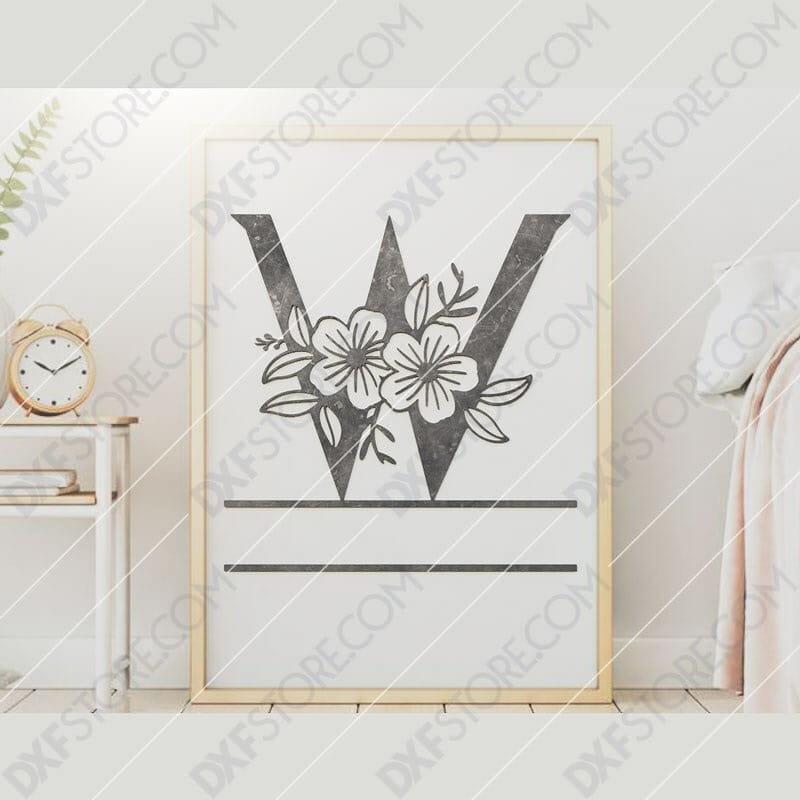Split Monogram Elegant Floral Split Alphabet Letter W DXF File Downloadable DXF for CNC Plasma DXF Files Download