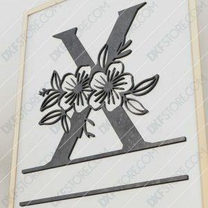 Split Monogram Elegant Floral Split Alphabet Letter X Cut-Ready Plasma Cut DXF File Download for CNC Plasma and Laser Cut