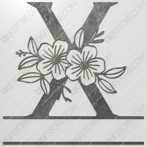 Split Monogram Elegant Floral Split Alphabet Letter X DXF File Plasma and Laser Cut for CNC Laser and Plasma Cut