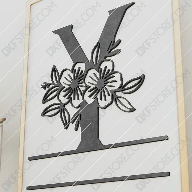 Split Monogram Elegant Floral Split Alphabet Letter Y Cut-Ready Plasma Cut DXF File Download for CNC Plasma and Laser Cut