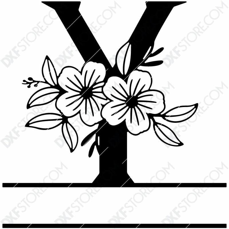 Split Monogram Elegant Floral Split Alphabet Letter Y DXF File Download Plasma Art for CNC Plasma Cut Cut-Ready DXF File for CNC
