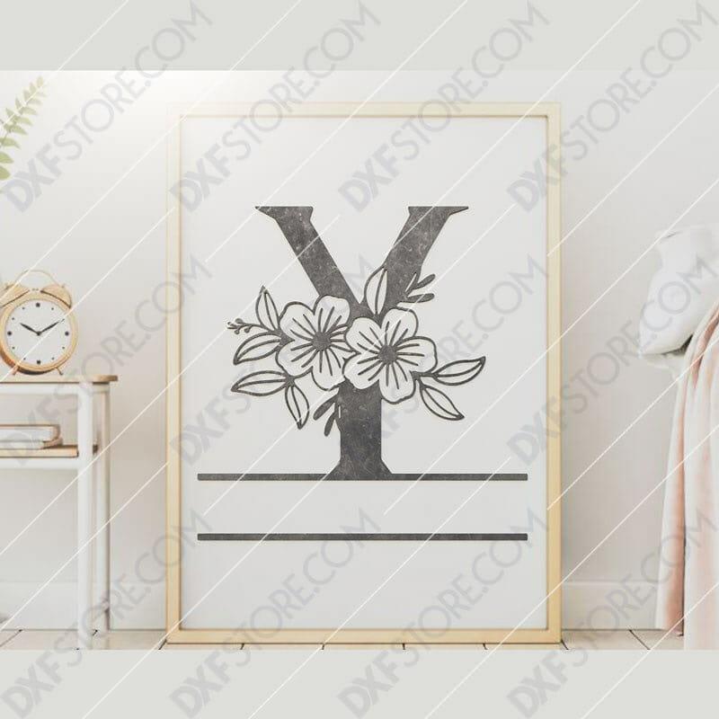 Split Monogram Elegant Floral Split Alphabet Letter Y DXF File Downloadable DXF for CNC Plasma DXF Files Download