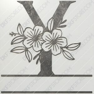 Split Monogram Elegant Floral Split Alphabet Letter Y DXF File Plasma and Laser Cut for CNC Laser and Plasma Cut
