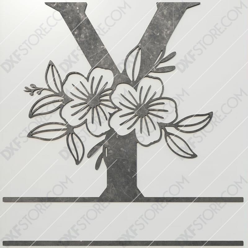Split Monogram Elegant Floral Split Alphabet Letter Y DXF File Plasma and Laser Cut for CNC Laser and Plasma Cut