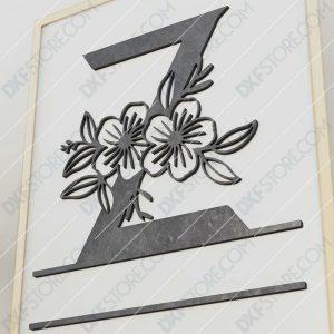 Split Monogram Elegant Floral Split Alphabet Letter Z Cut-Ready Plasma Cut DXF File Download for CNC Plasma and Laser Cut