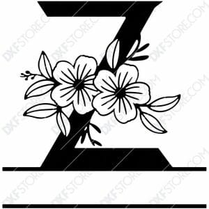 Split Monogram Elegant Floral Split Alphabet Letter Z DXF File Download Plasma Art for CNC Plasma Cut Cut-Ready DXF File for CNC