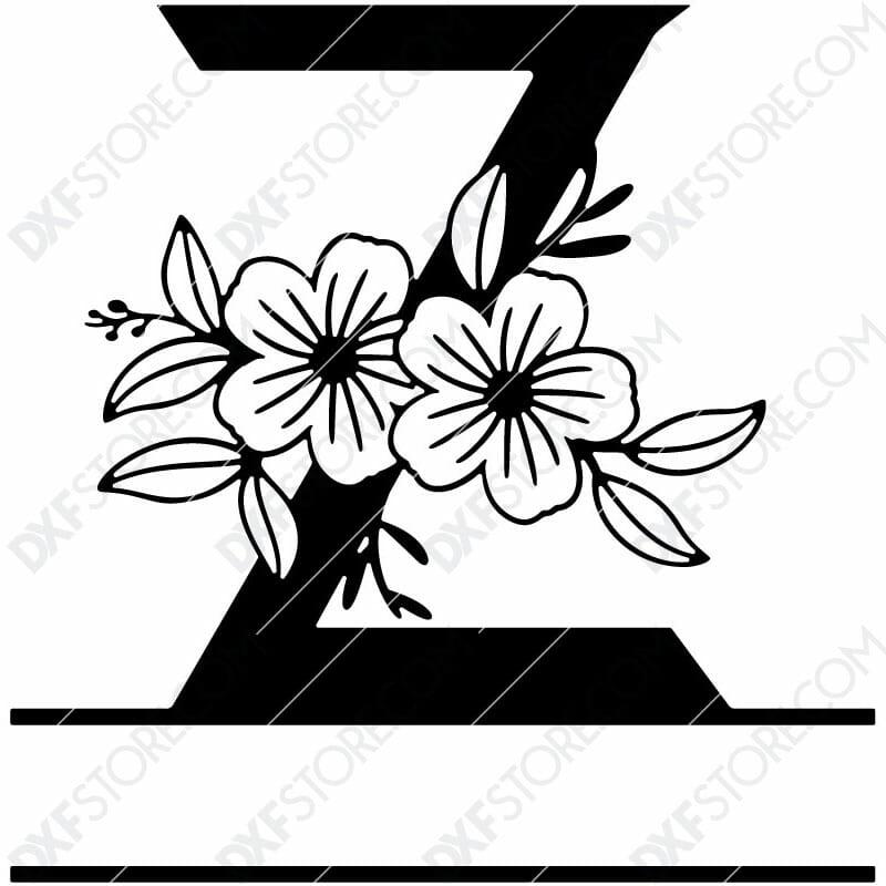 Split Monogram Elegant Floral Split Alphabet Letter Z DXF File Download Plasma Art for CNC Plasma Cut Cut-Ready DXF File for CNC