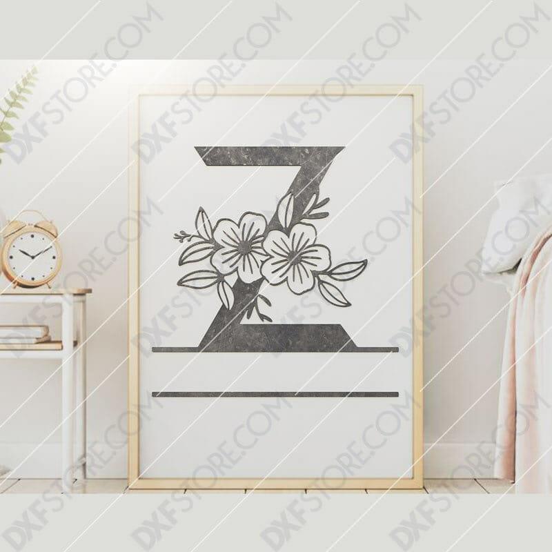 Split Monogram Elegant Floral Split Alphabet Letter Z DXF File Downloadable DXF for CNC Plasma DXF Files Download