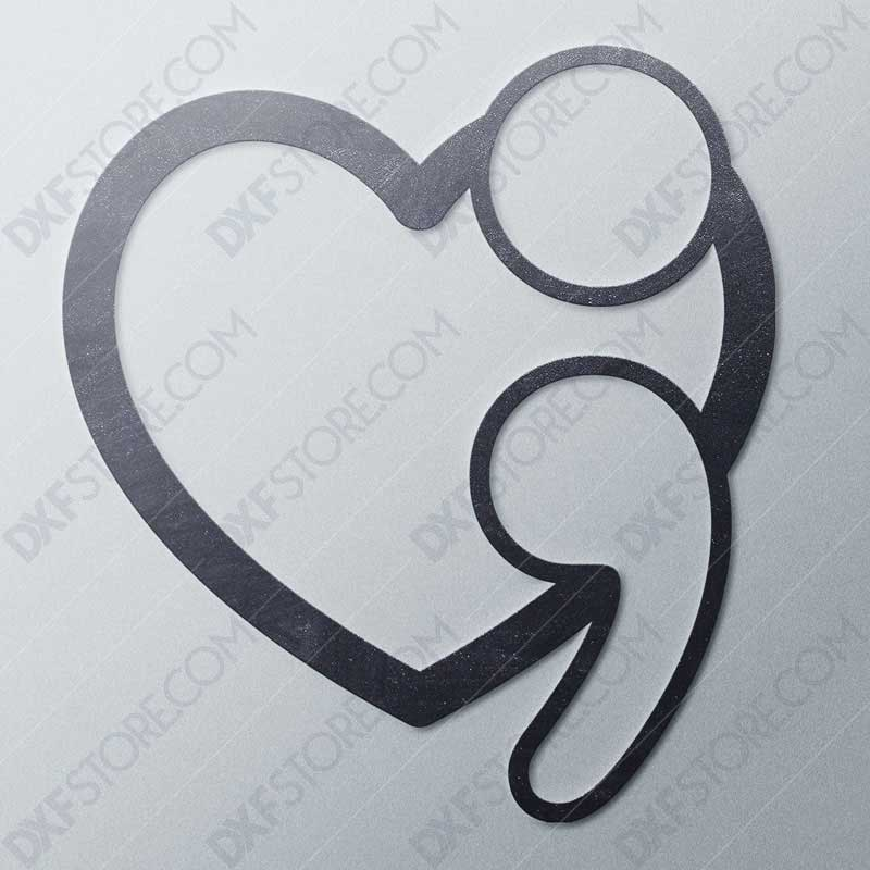 Suicide Prevention Awareness Heart Semicolon Free DXF File For Laser Cutter and Plasma Cutter Downloadable DXF For CNC
