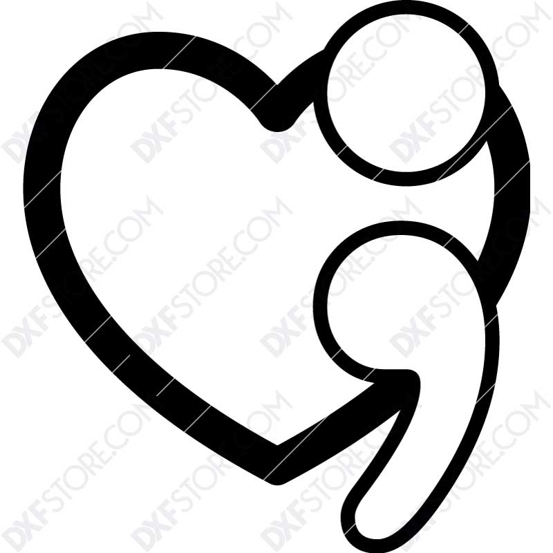 Suicide Prevention Awareness Heart Semicolon Free DXF File for Plasma Cutting Cut-Ready Plasma Cut DXF File Download