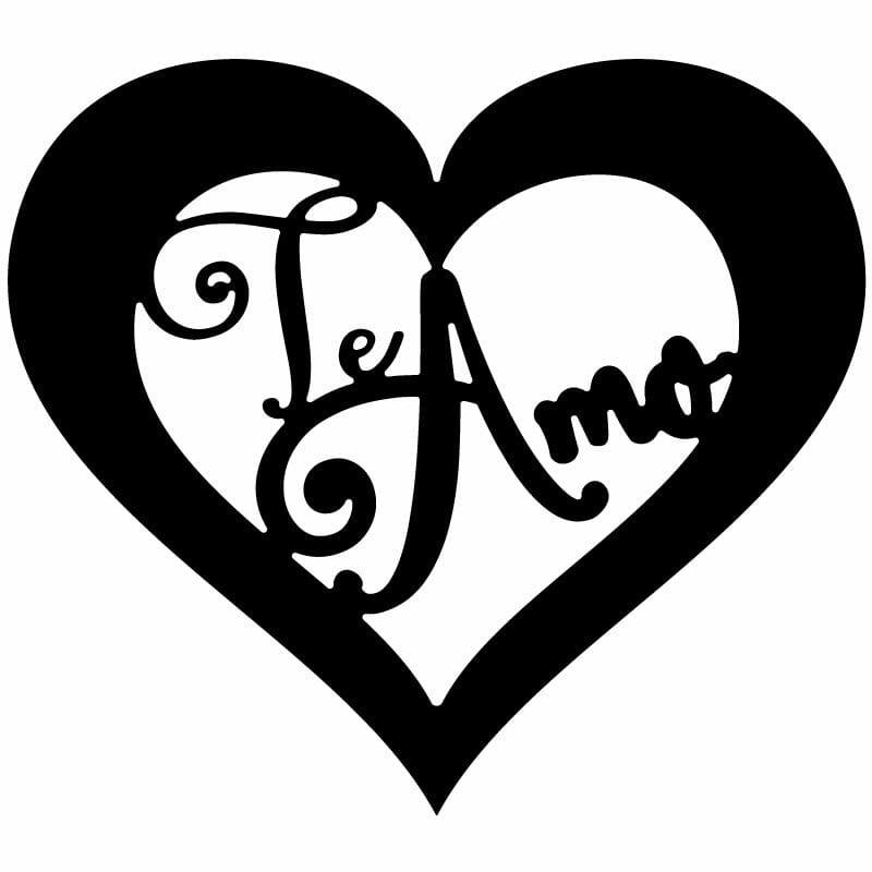 Te Amo Decorative Heart Frame Free DXF File