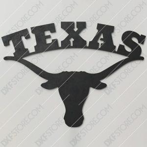 Texas Longhorn Plasma Art Metal Sign Plasma Cut DXF File Cut-Ready for CNC Plasma and Laser Cut
