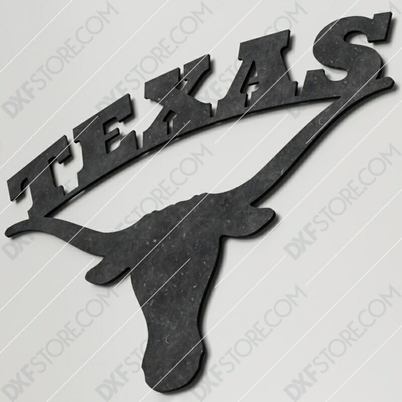 Texas Longhorn Plasma Art Metal Sign Plasma and Laser Cut DXF File for CNC Laser and Plasma