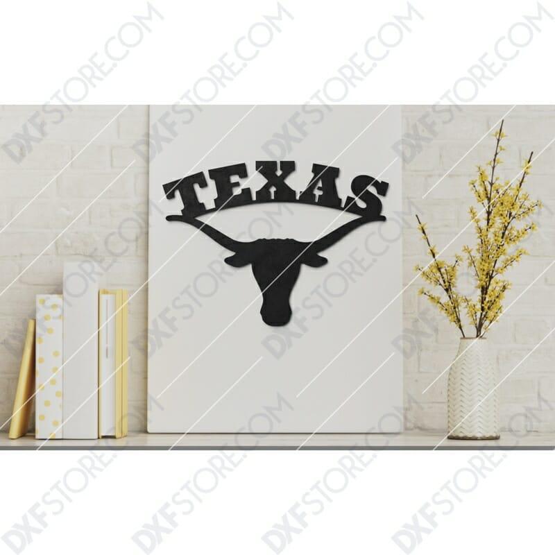 Texas Longhorn Plasma Art Metal Sign Plasma and Laser Cut DXF File