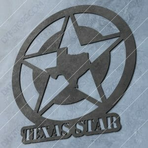 Texas Star Plasma Art DXF File Downloadable for CNC Plasma Cut and Laser Cut