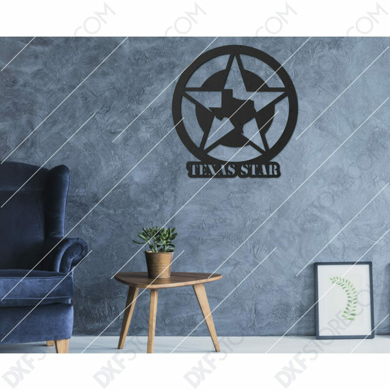 Texas Star Plasma Art DXF File Plasma and Laser Cut for CNC Laser and Plasma Cutter
