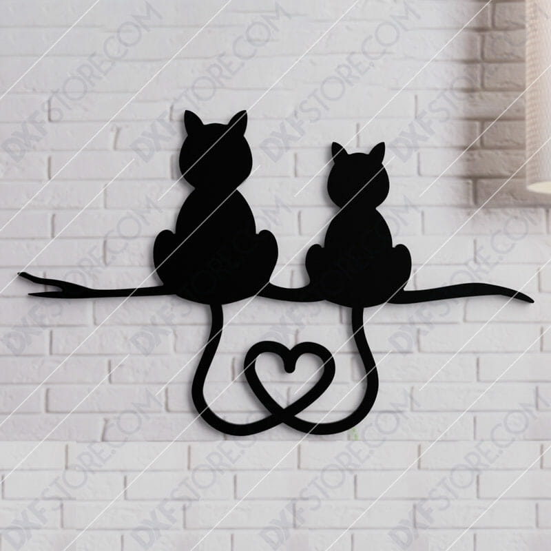 Two Cats With Heart Shaped Tails Free DXF File for CNC Laser Cut