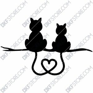 Two Cats With Heart Shaped Tails Free DXF SVG Files for CNC Plasma Cut