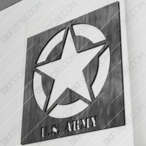 U.S. ARMY STAR Sign DXF File Downloadable for CNC Plasma Cut and Laser Cut