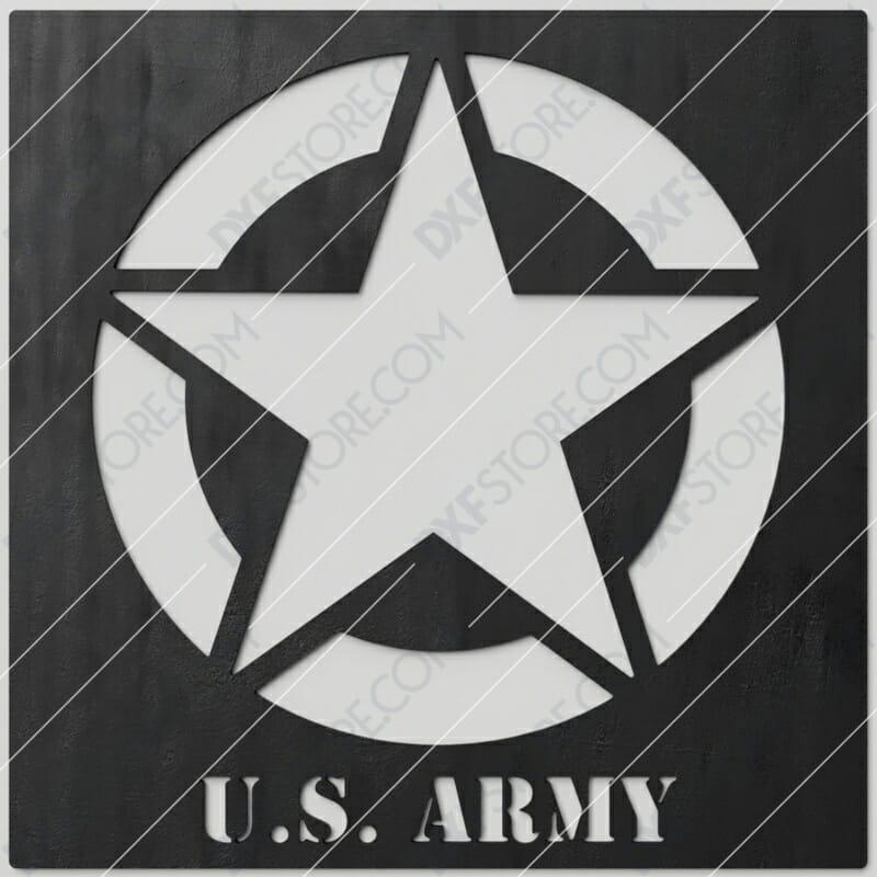 U.S. ARMY STAR Sign Plasma Cut DXF File Cut-Ready for CNC Plasma and Laser Cut