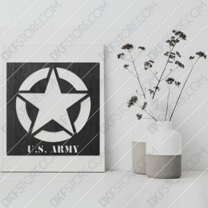 U.S. ARMY STAR Sign Plasma and Laser Cut DXF File for CNC Laser and Plasma Cutter