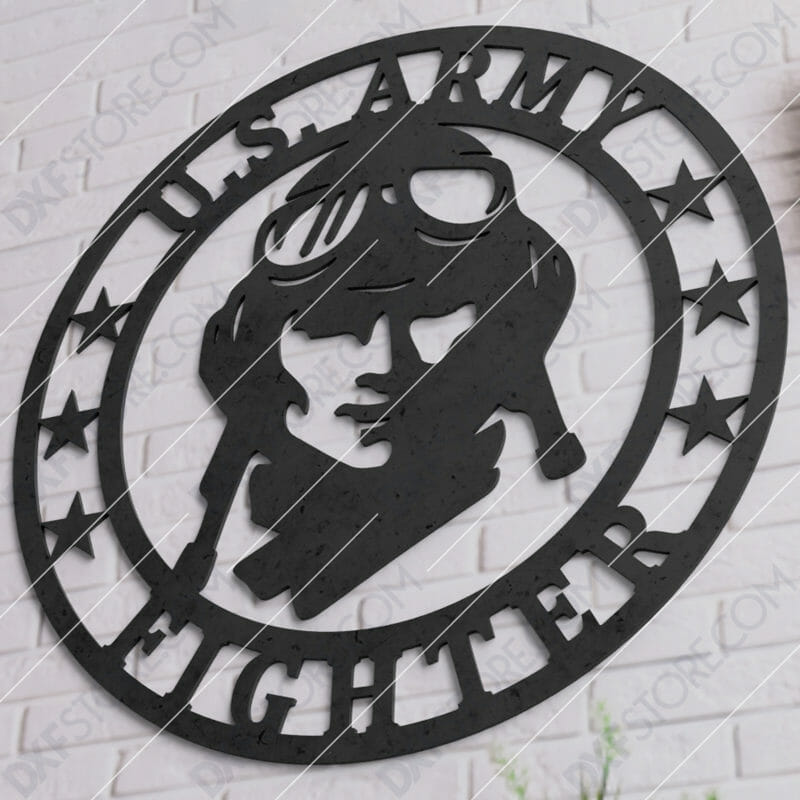 U.S. Army Fighter Vintage Sign DXF File Downloadable for CNC Plasma Cut and Laser Cut