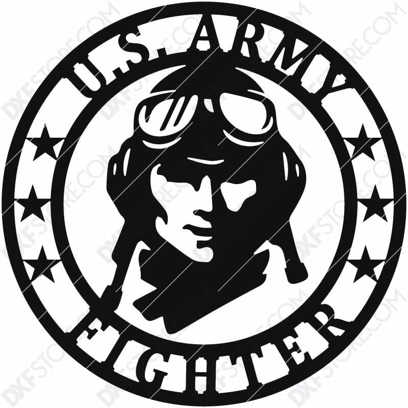 U.S. Army Fighter Vintage Sign Plasma Art for CNC Plasma Cut Cut-Ready DXF File for CNC
