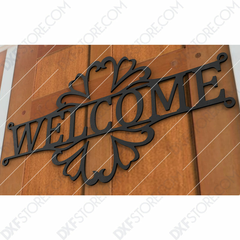 Welcome Sign Decorative Filigree Free DXF File DXF File for CNC Plasma Cut and Laser Cut