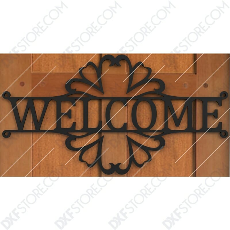 Welcome Sign Decorative Filigree Free DXF File Plasma Art Metal Sign Plasma and Laser Cut DXF File