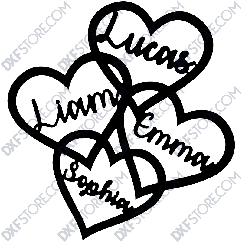 Decorative Hearts With Personalized Laser Cut Names